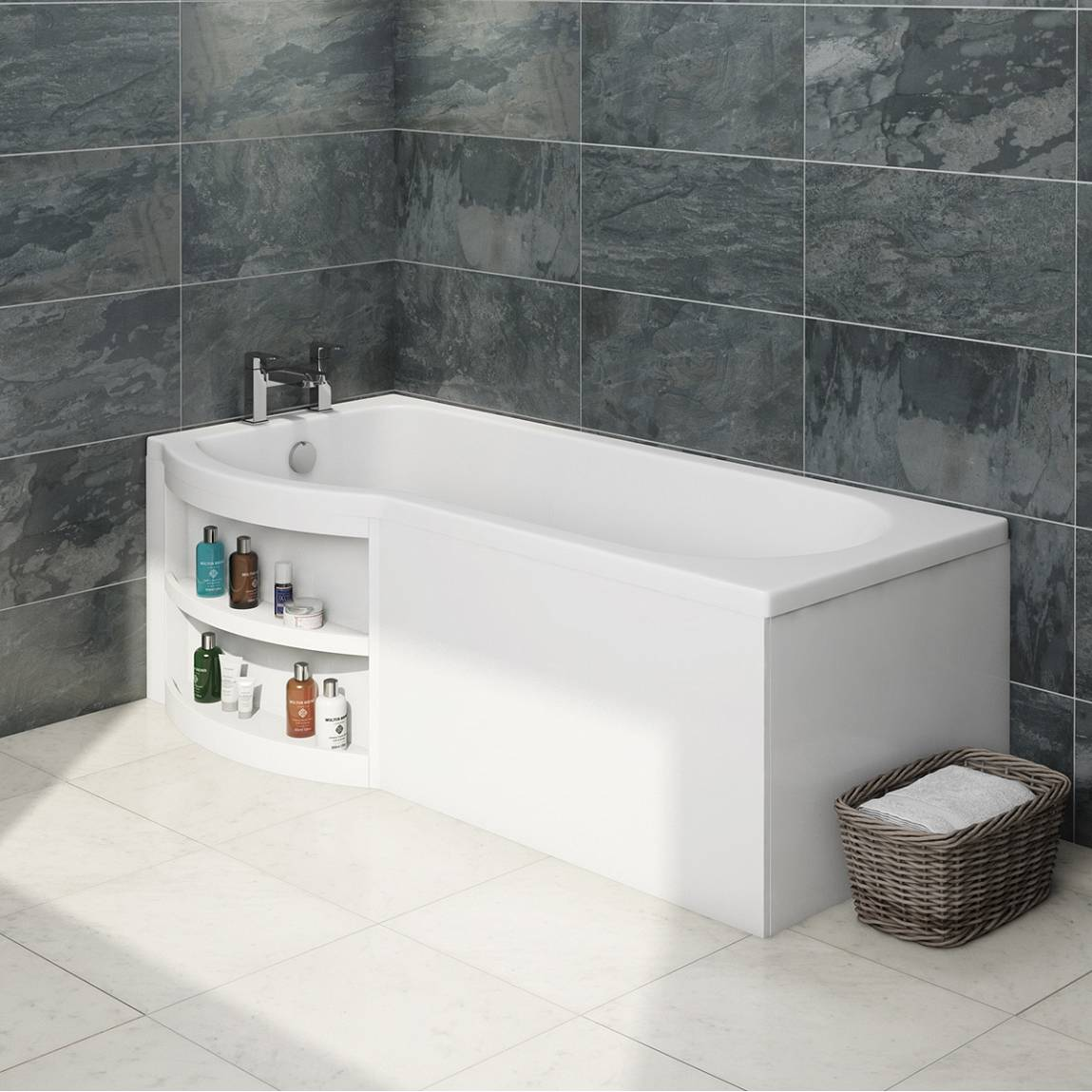 MySpace Water Saving P Shape Shower Bath Left Hand with Storage Panel