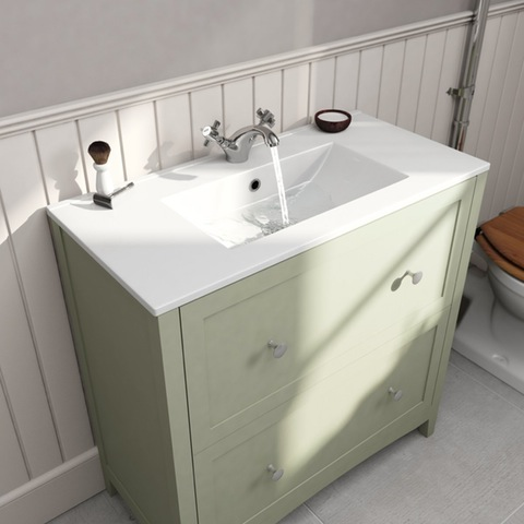 Camberley Sage 800 Floor Drawer Unit & Basin