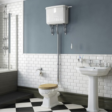 Regency high level toilet with oak effect seat