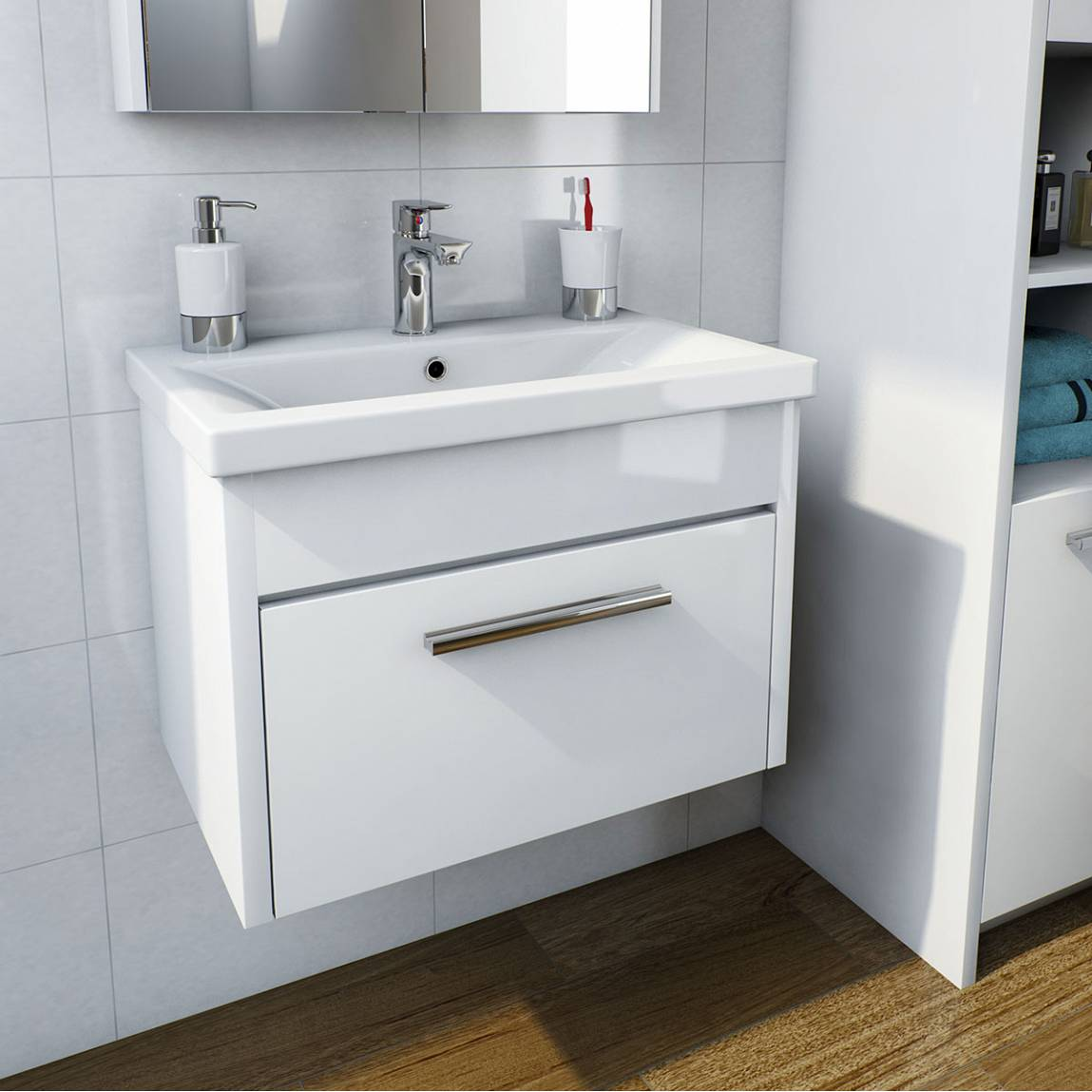Smart white wall hung 600 drawer unit & inset basin