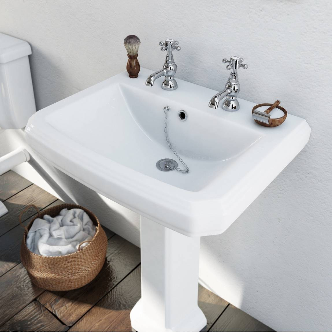 Cavendish 600mm 2TH Basin and Pedestal