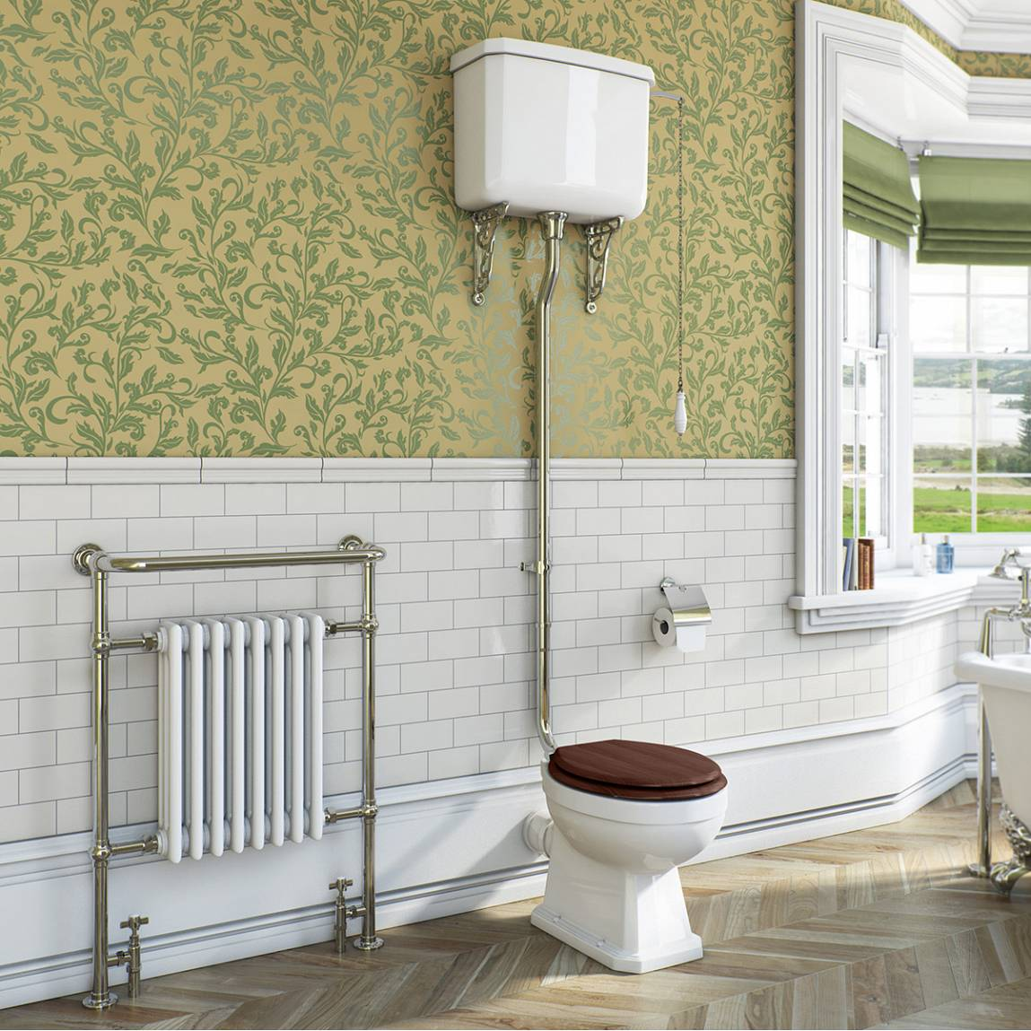 Regency high level toilet including luxury soft close walnut effect seat