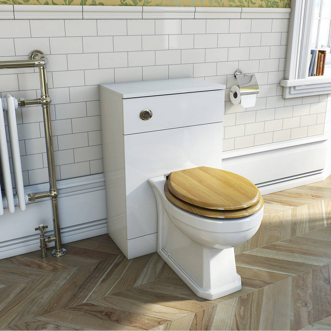 Regency back to wall toilet including luxury solid oak seat & unit