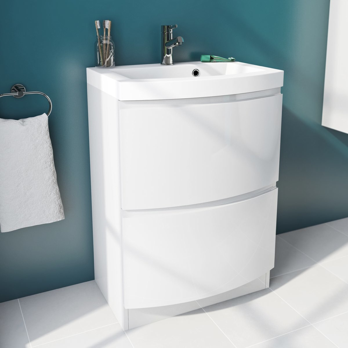 Curvaceous snow floor drawer and basin unit