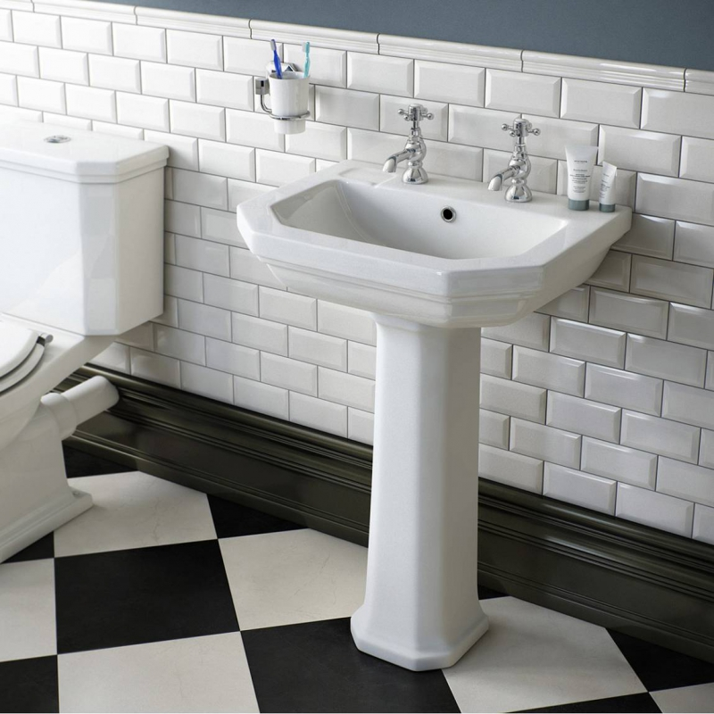 Regency 2 Tap Hole Full Pedestal Basin 580mm