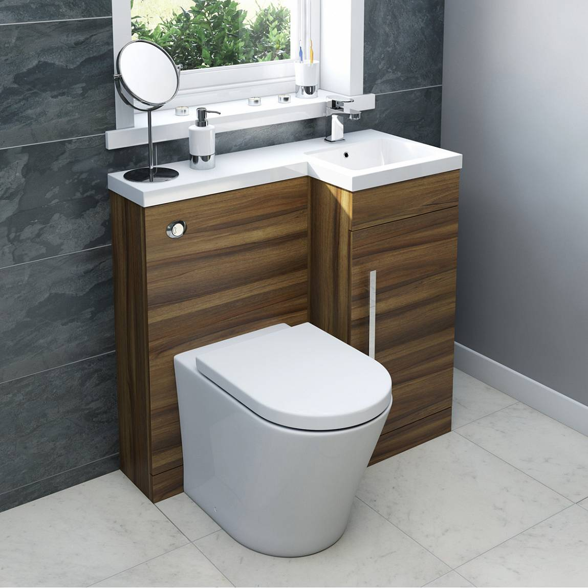 Myspace walnut right handed unit with Arte back to wall toilet. Small Bathroom  Style it your way with MySpace Furniture