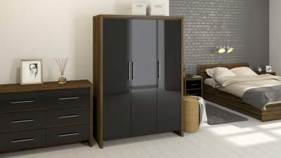 Walnut and black gloss 3 door wardrobe