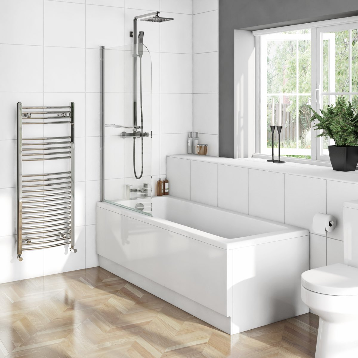 Kensington bath with single shower screen