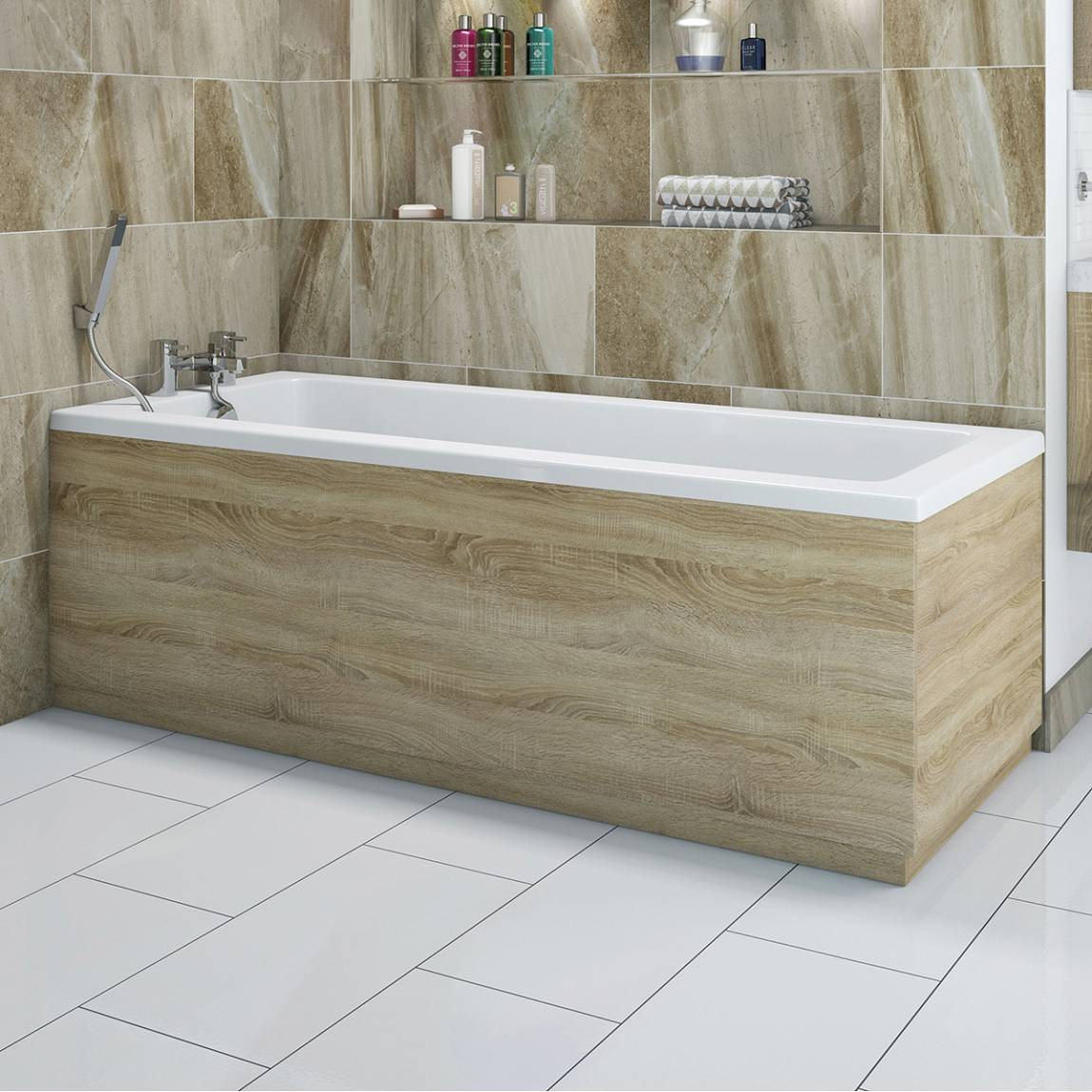 Drift oak wooden bath side panel 1700