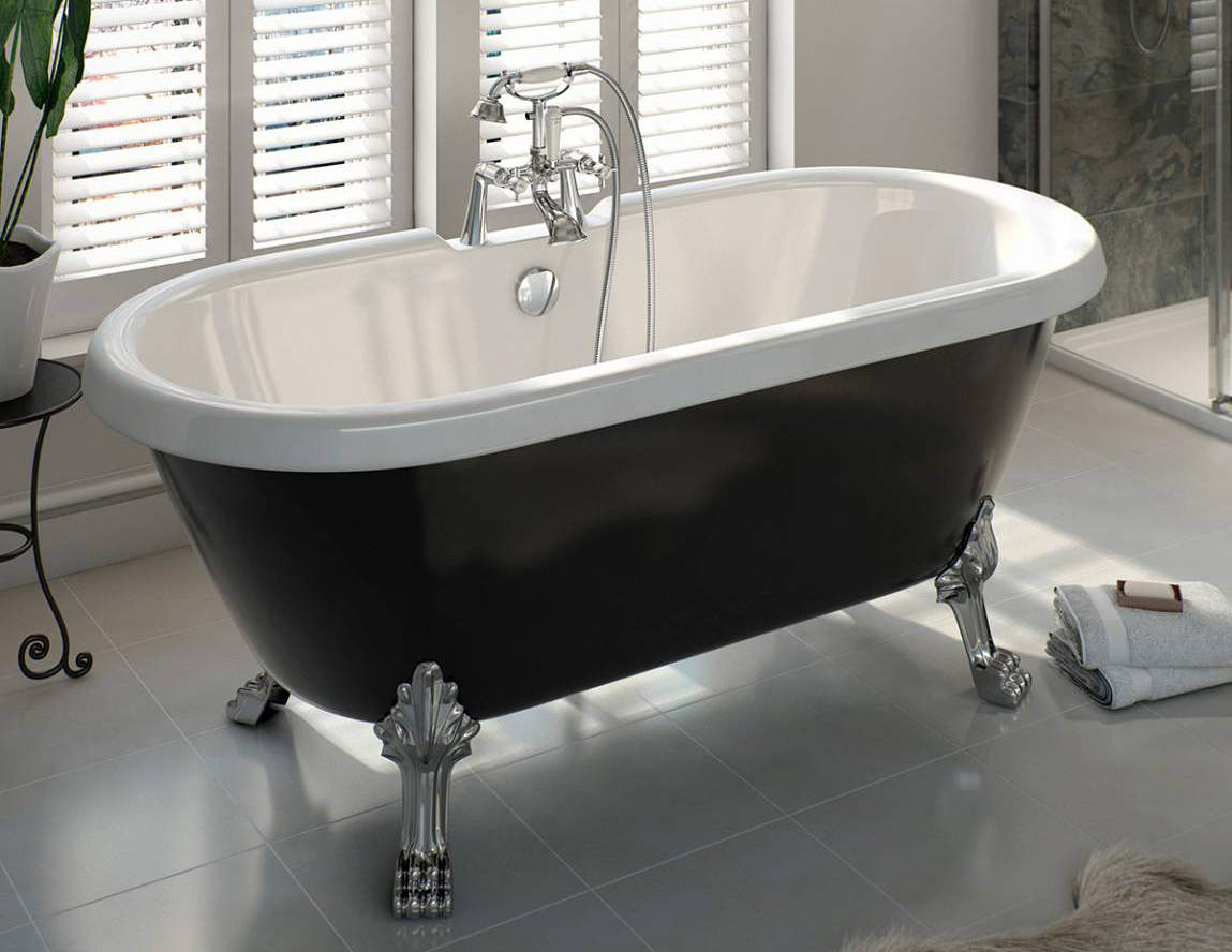 Shakespeare Black Roll Top Bath with Ball Feet