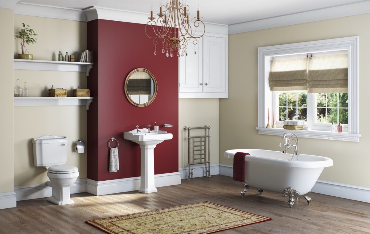 winchester suite with red wall - Bathroom Ideas Colours