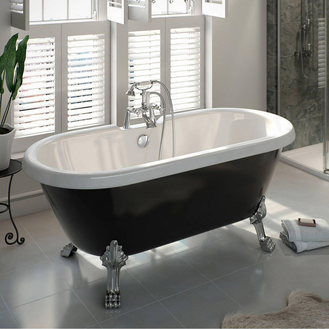 Shakespeare Black Roll Top Bath
