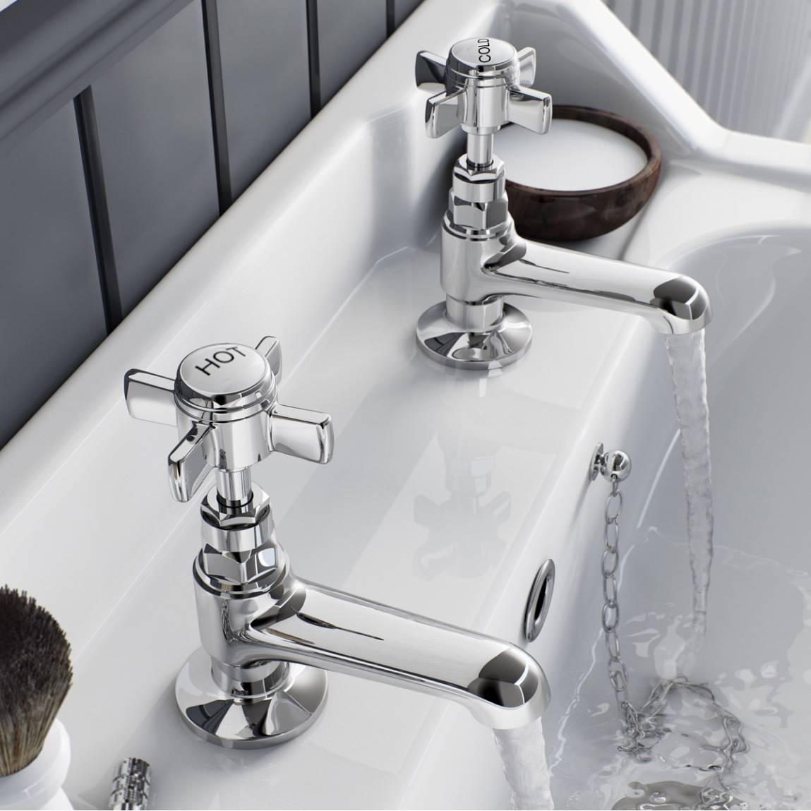 Traditional hot and cold pillar taps