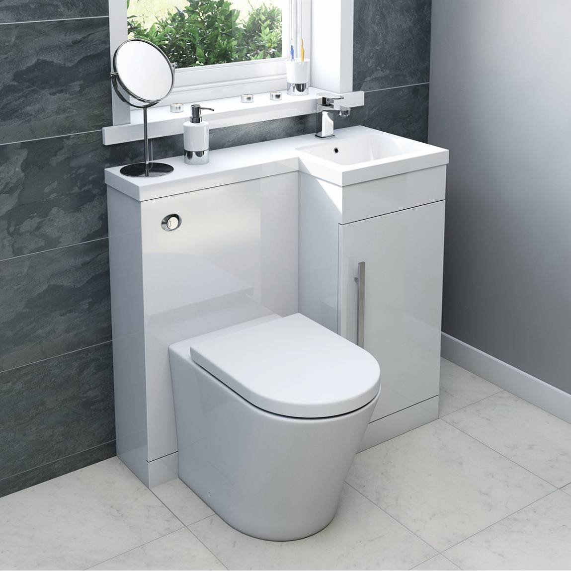 MySpace white right hand combination unit with Arte back to wall toilet