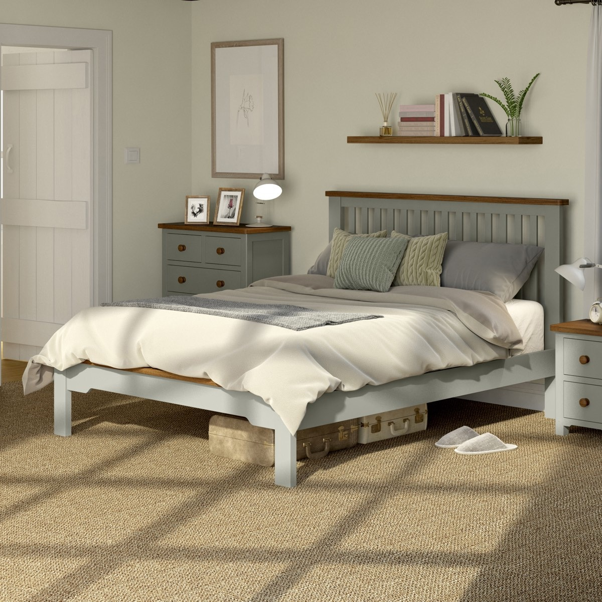Rome oak and mellow sage king size bed