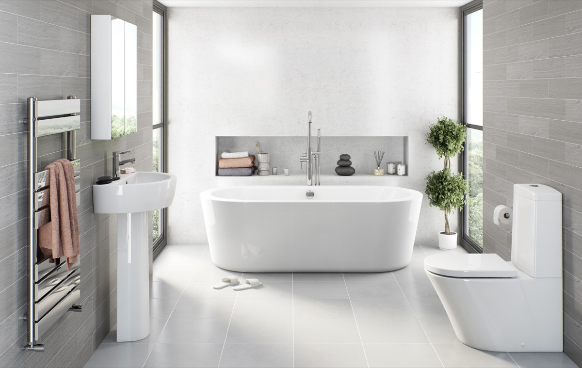 Grey bathroom ideas for Bathroom ideas grey tiles