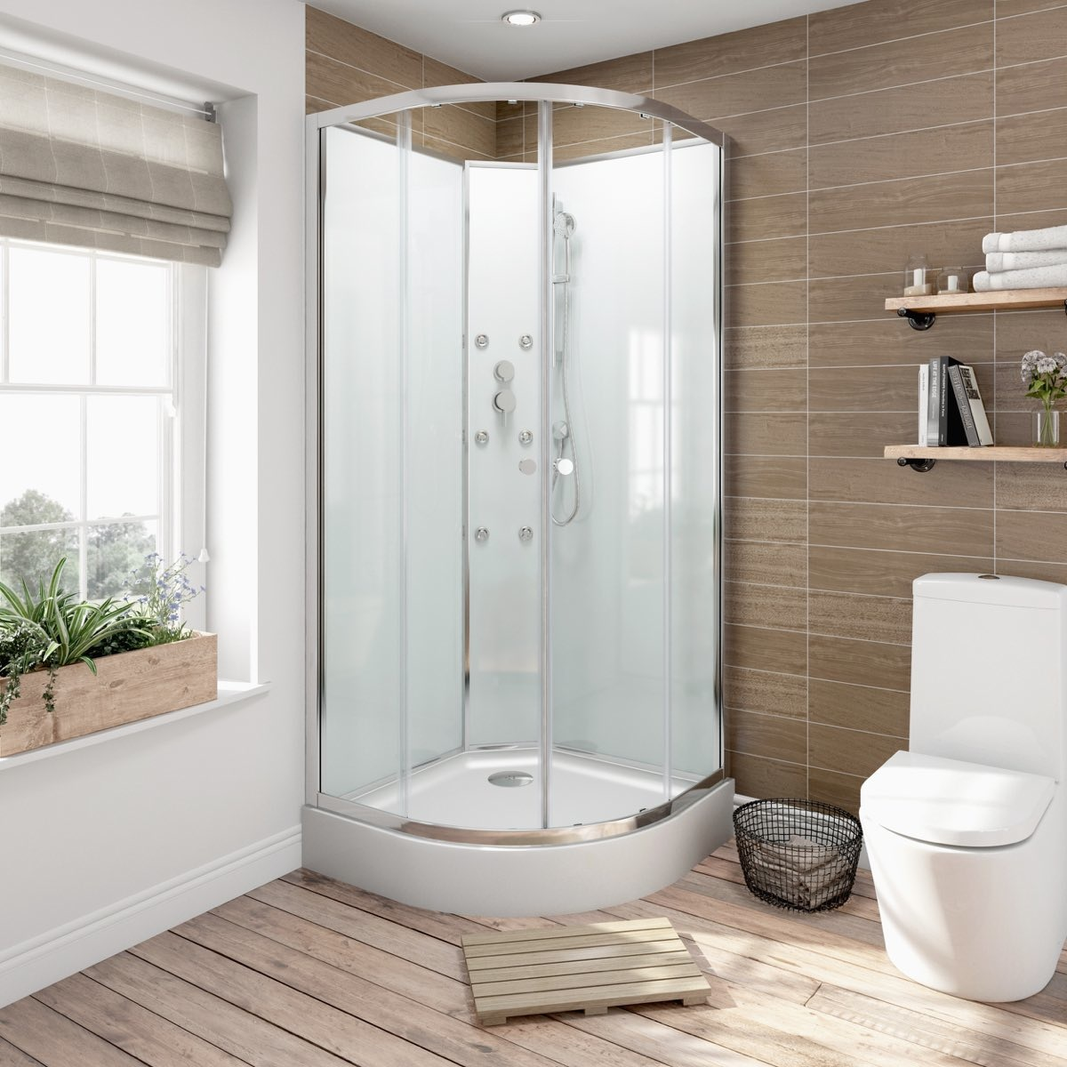 5mm quadrant glass backed shower cabin 900