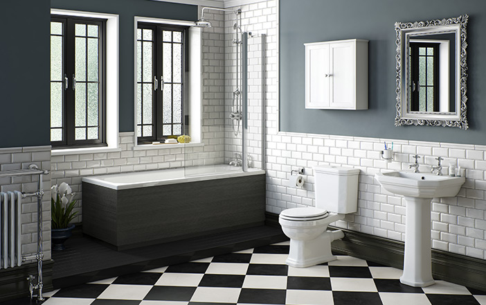 Black and White Bathroom Flooring