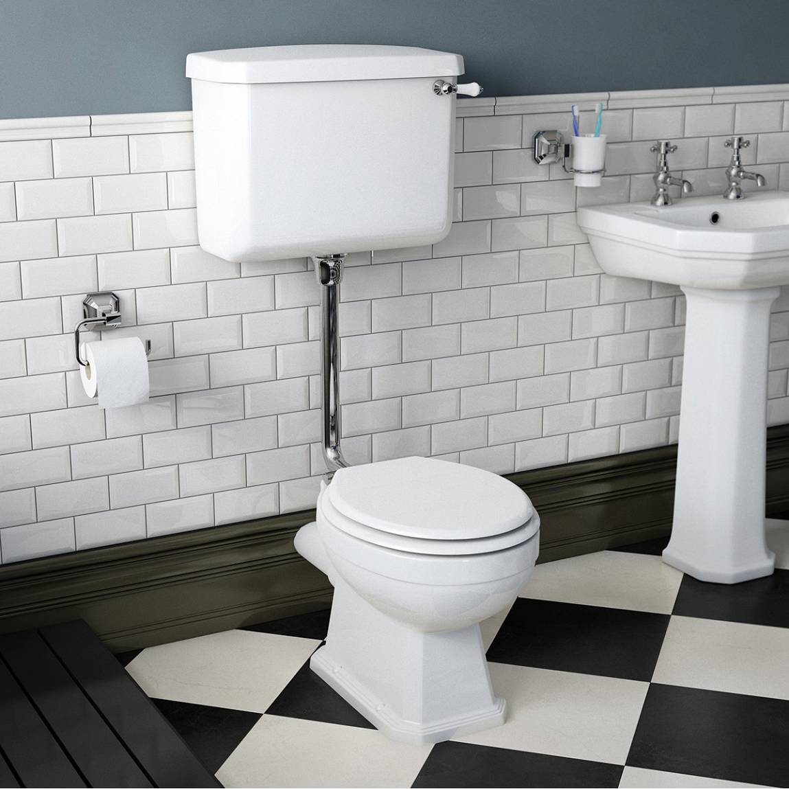 Regency low level toilet including luxury white MDF seat
