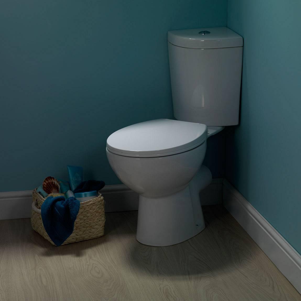 Palm corner close coupled toilet