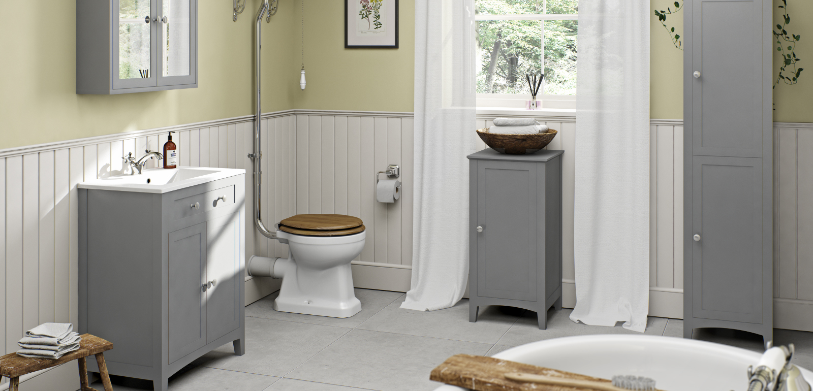 Grey bathroom furniture range