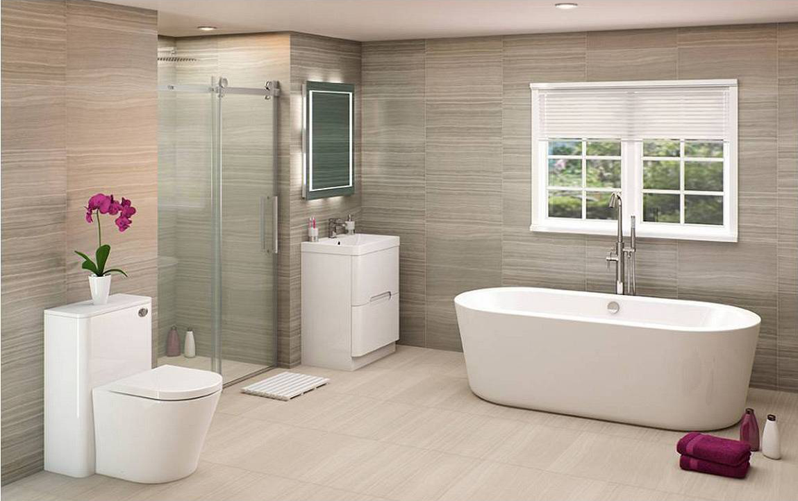 Arte bath suite with shower door