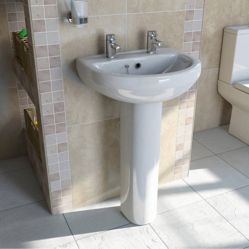 Orchard Wharfe 2 tap hole full pedestal basin