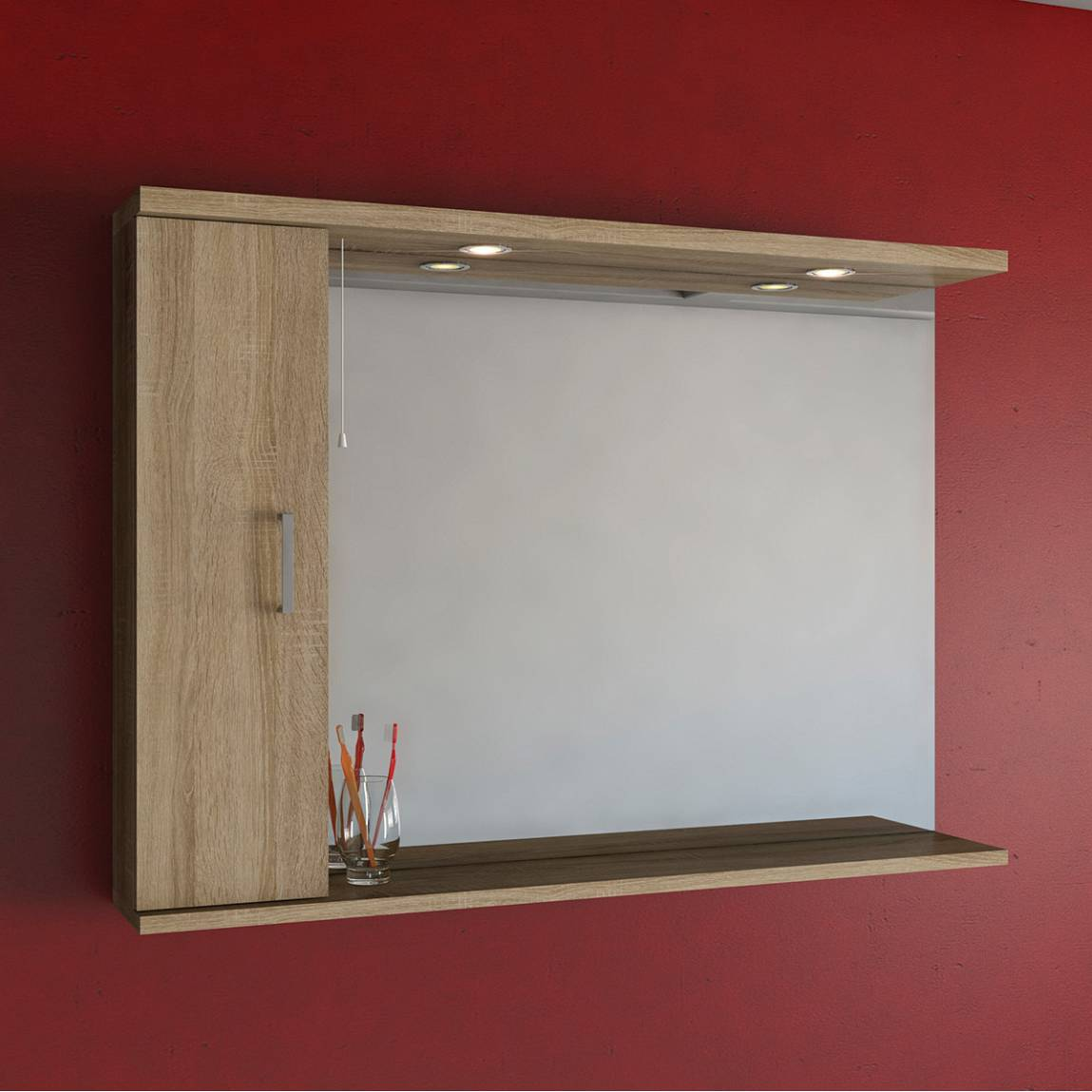 Sienna Oak 120 Mirror with Lights