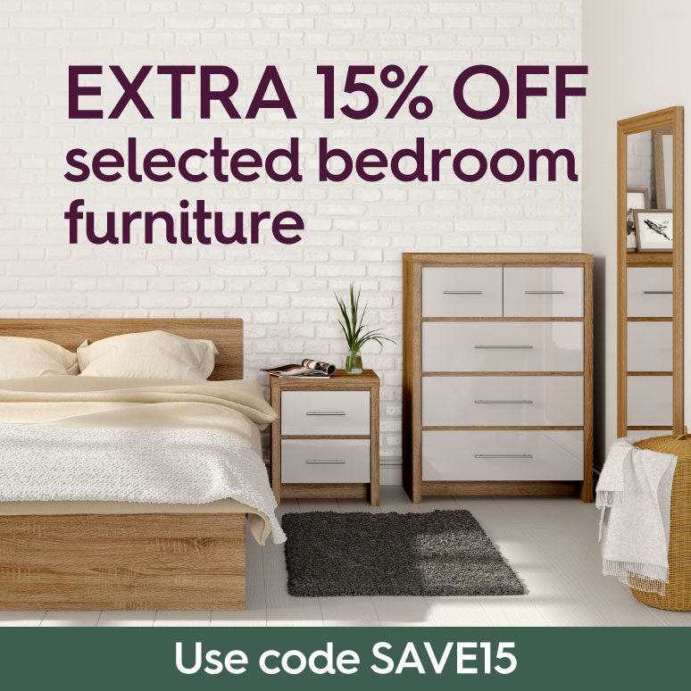 Extra 15% off selected bedroom furniture