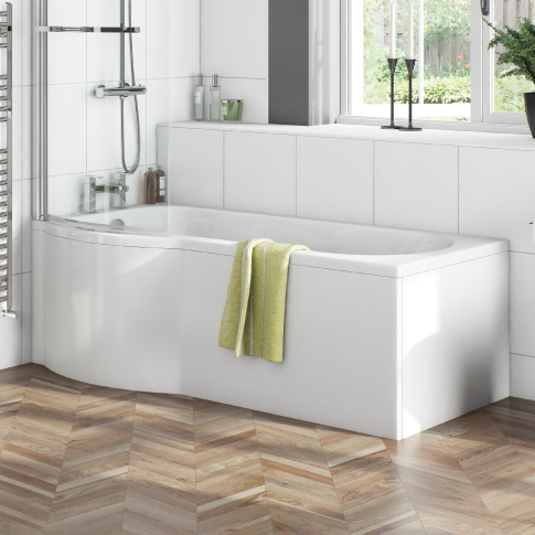 acrylic bath with wooden bath panel