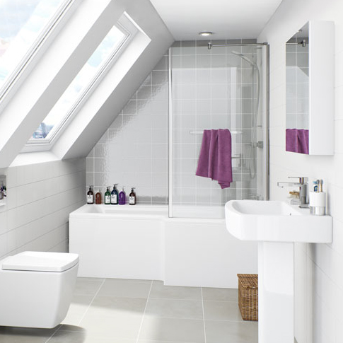 l shaped shower bath and white basin