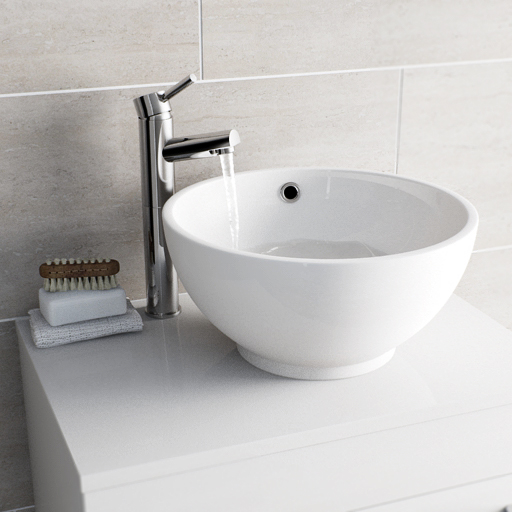 white counter top basin