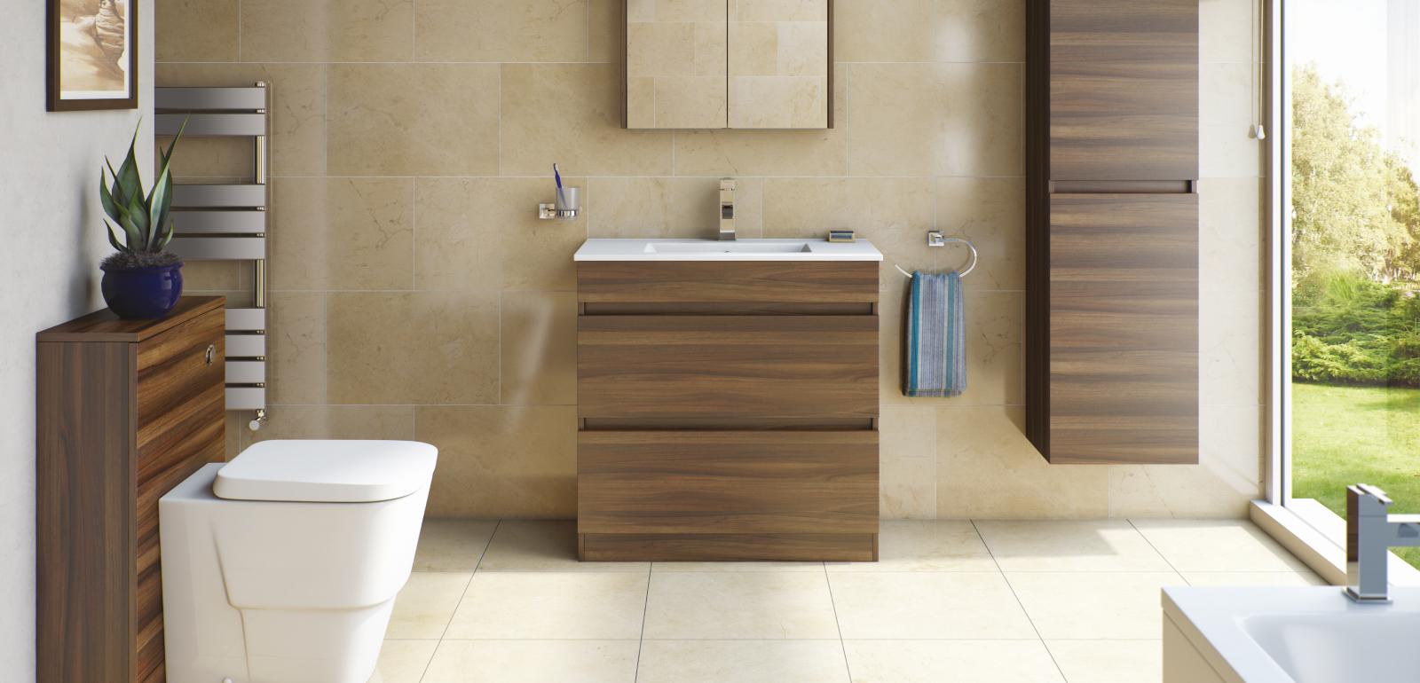 Walnut bathroom vanity aspen walnut bathroom cabinet u2022 for Bathroom cabinets victoria plumb