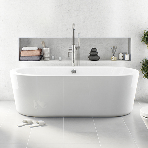 White arc freestanding bath