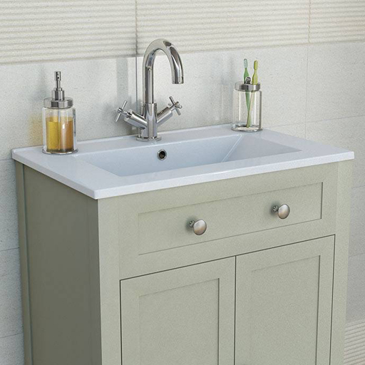 traditional sage vanity unit and basin
