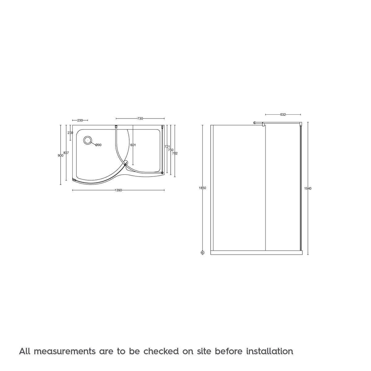V6 curved walk in shower enclosure tray pack 1400 x 900 for Walk in shower plans and specs