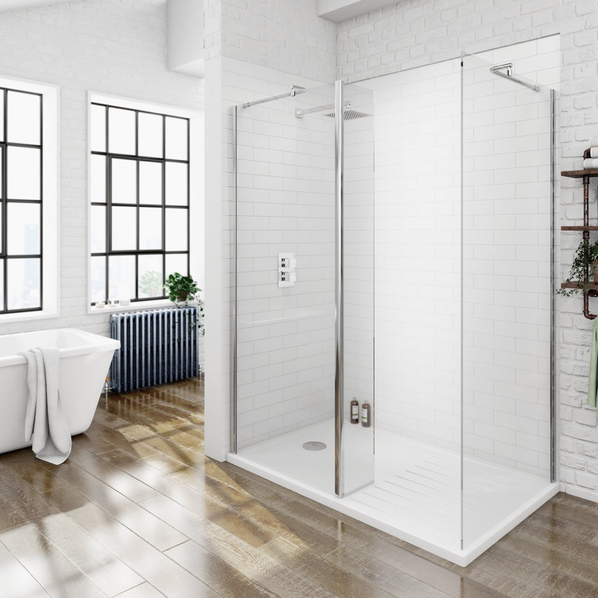 Image of 8mm Walk In Shower Enclosure Pack 1400 x 900