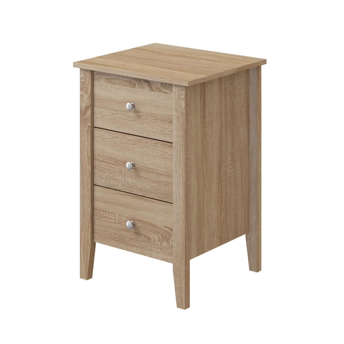 Sydney oak 3 drawer bedside for Oak bedroom furniture 0 finance