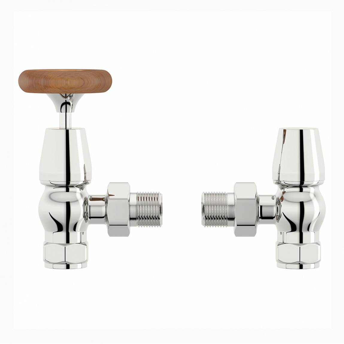 Image of Traditional Angled Radiator Valves with Brown Handle