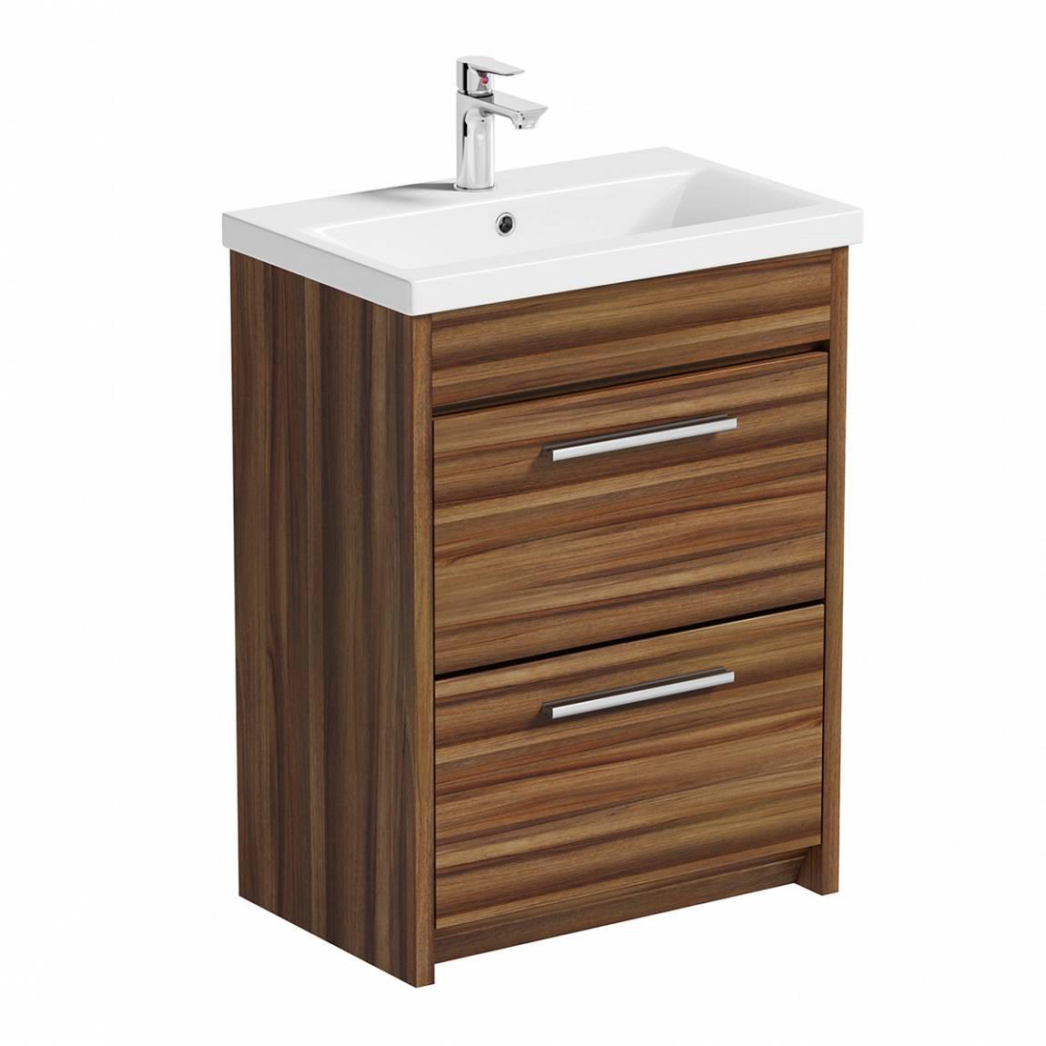 Image of Smart Walnut Floor Mounted 600 Drawer Unit & Basin