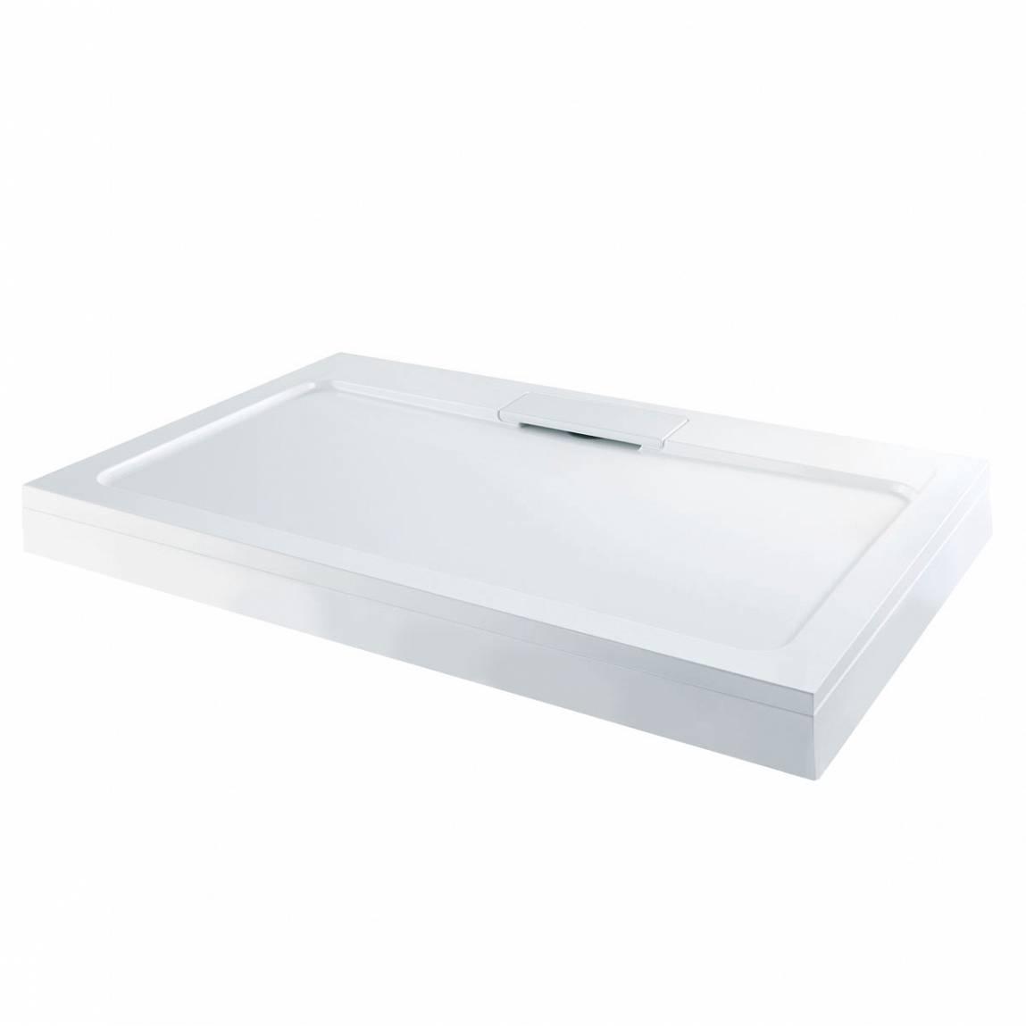 Image of Designer Rectangular Stone Shower Tray & Riser Kit 1000 x 800
