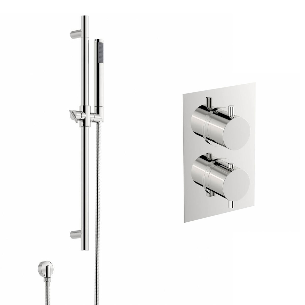 Image of Matrix Thermostatic Twin Valve and Riser Rail Set
