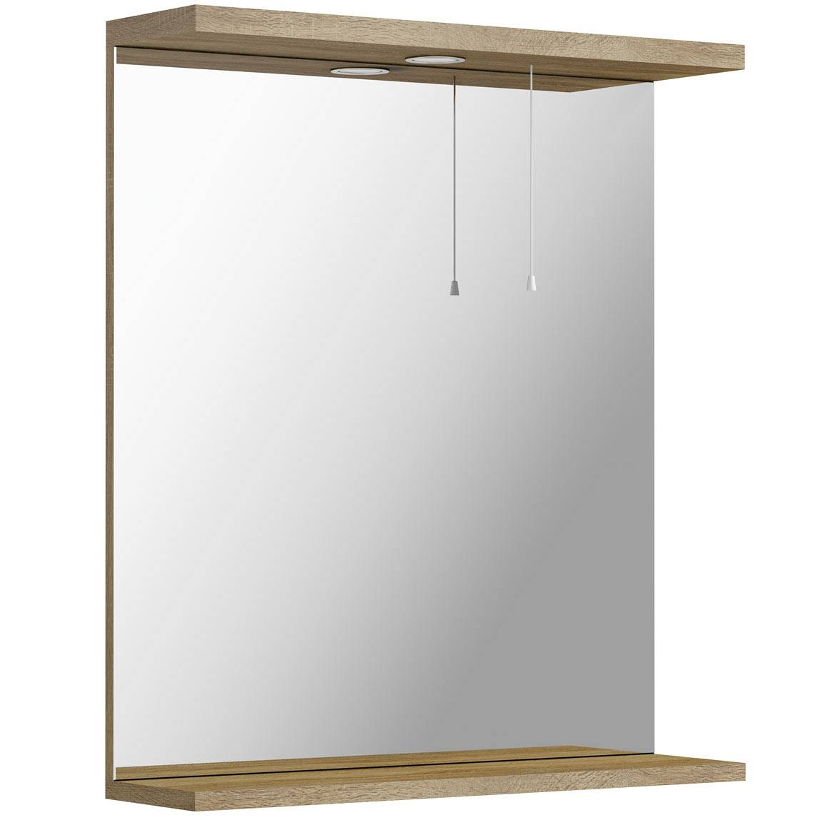 Image of Sienna Oak 65 Mirror with lights