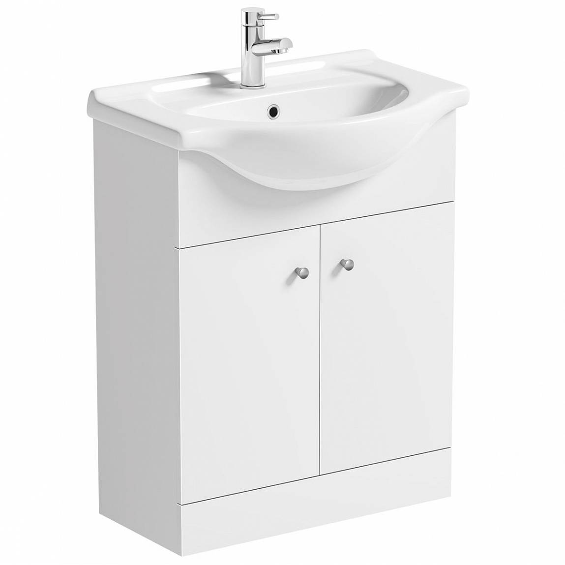 Image of Prague White Floor Standing 65 Unit with Basin