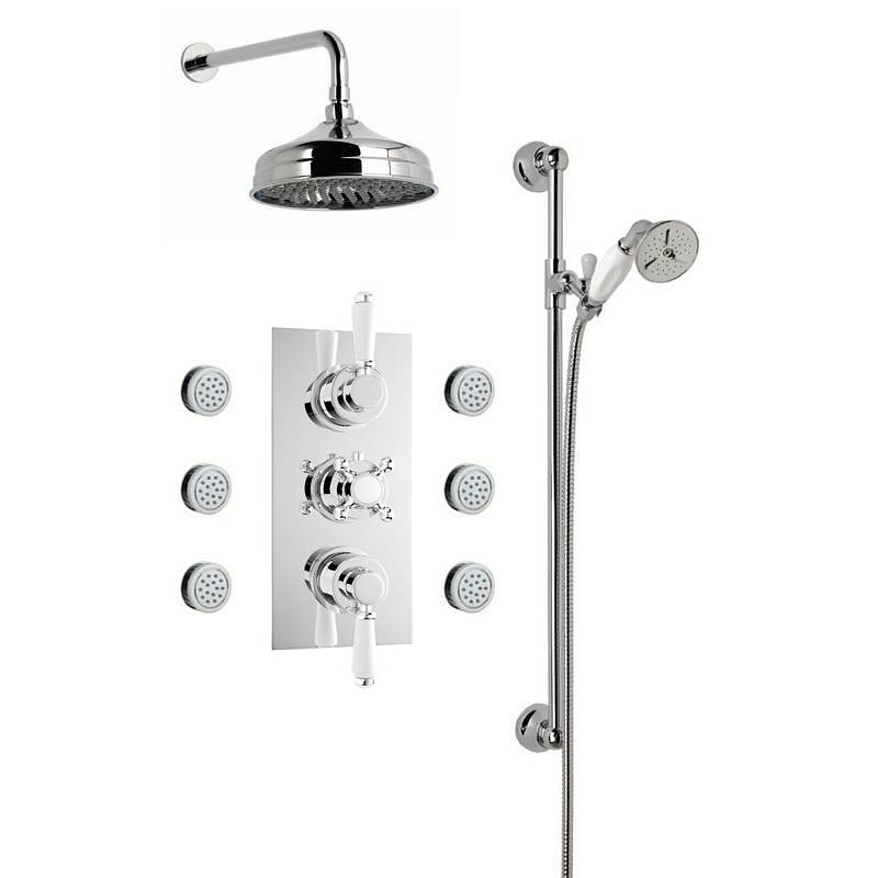 Image of Traditional Thermostatic Triple Diverter Valve, Body Jets & Shower Rail Set