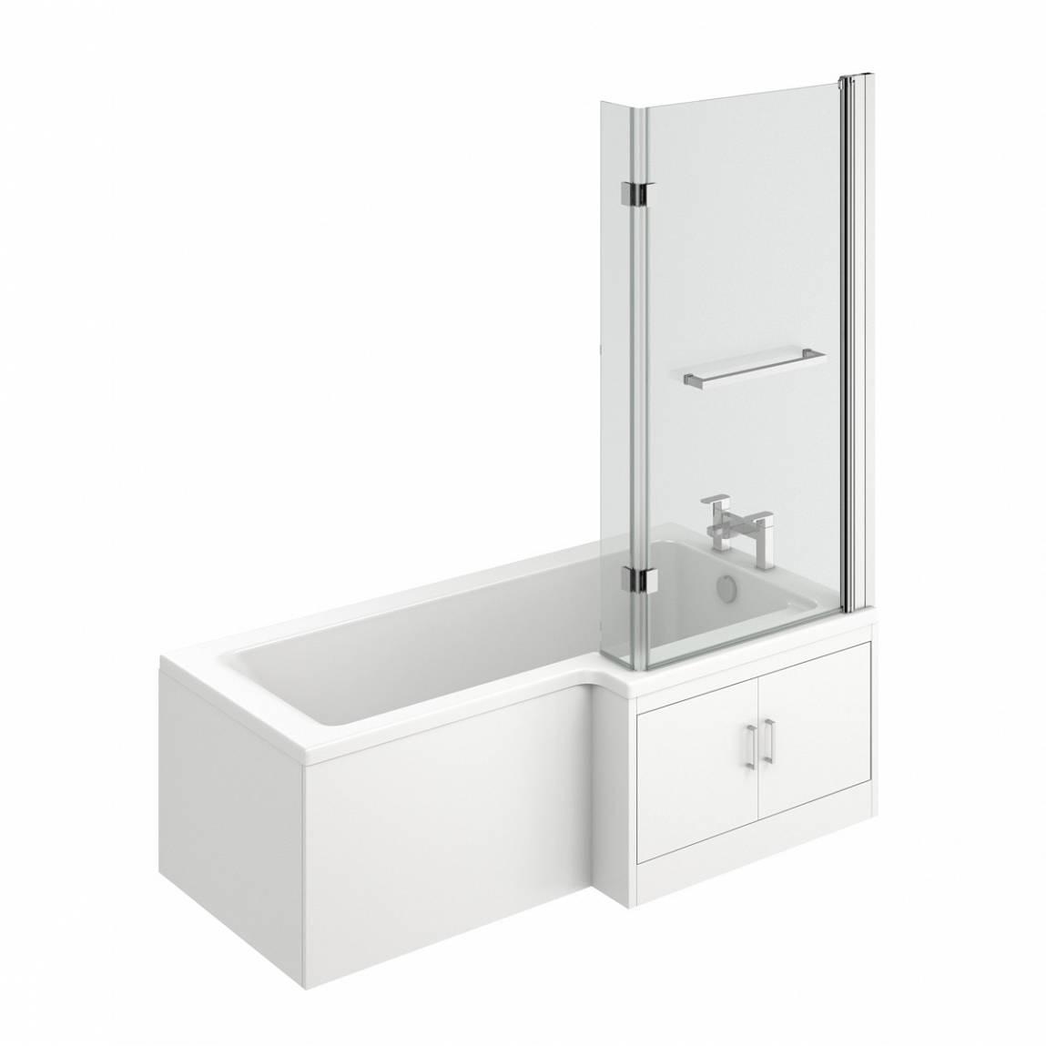 Image of MySpace Water Saving L Shape Shower Bath Right Hand with Storage Panel & 8mm Luxury Hinged Screen with Towel Rail