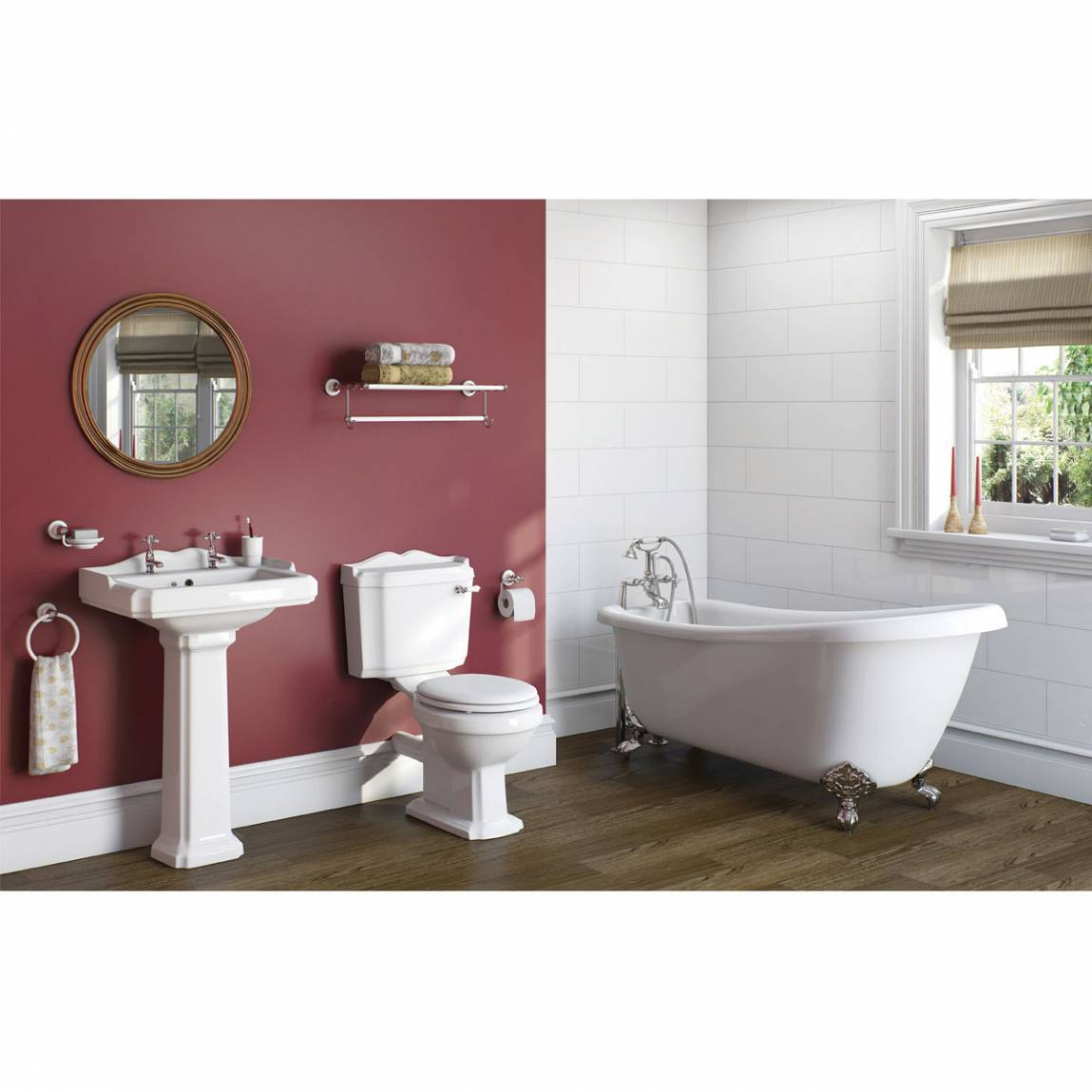 Image of Winchester Bathroom suite & Slipper Bath With Ball and Claw Feet