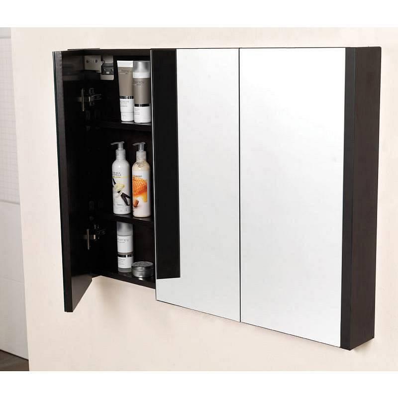 Odessa wenge 3 door mirror cabinet for Bathroom cabinets victoria plumb