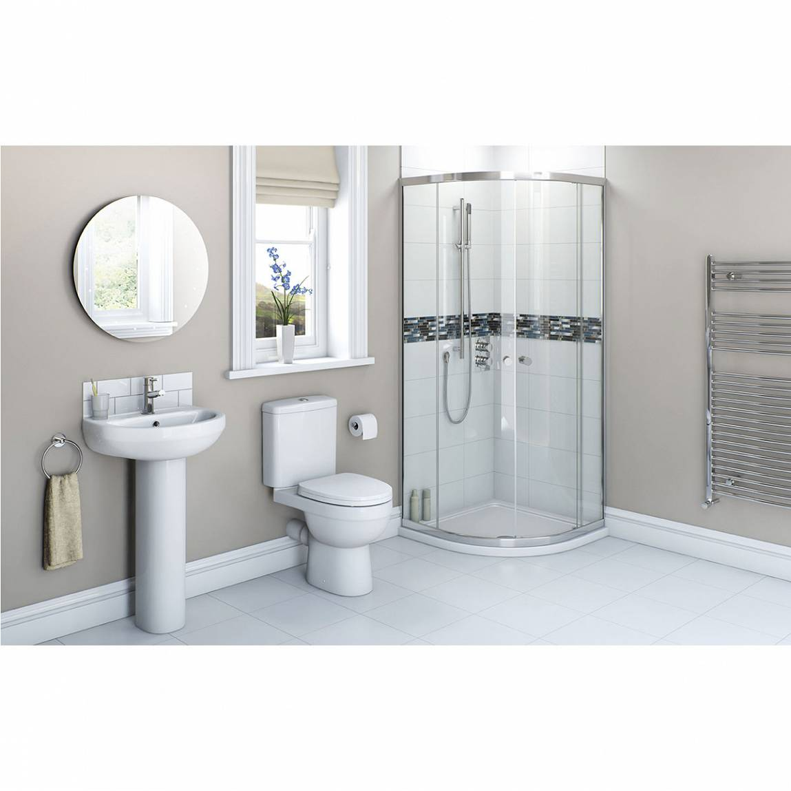 Image of Energy Bathroom Suite with Quadrant Enclosure 800