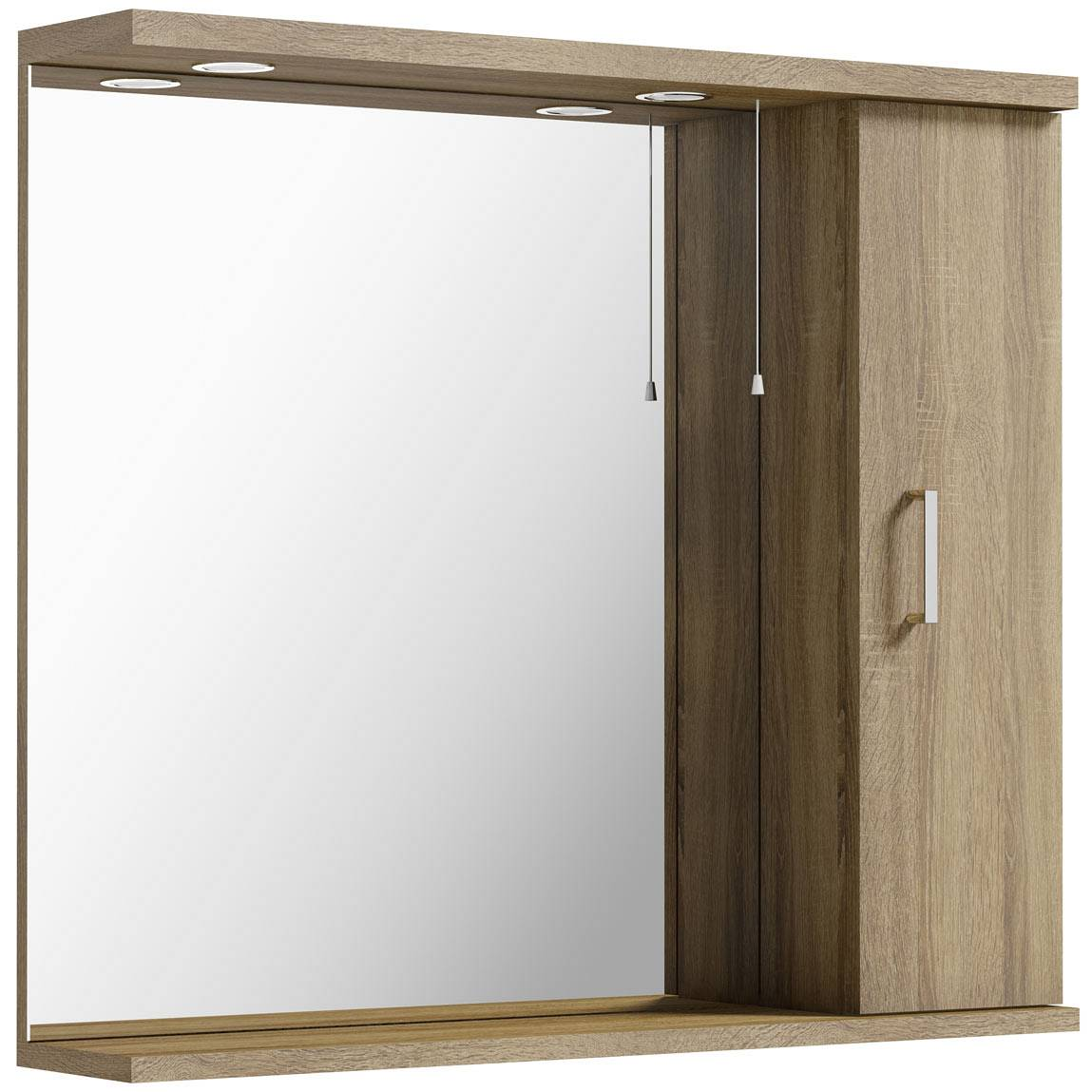 Image of Sienna Oak 85 Mirror with lights